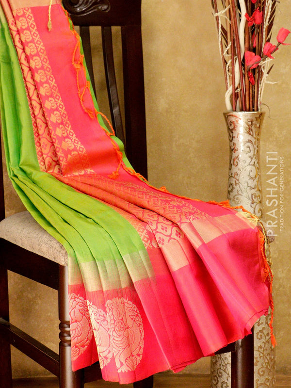 Soft Silk saree lime green and pink with zari border and zari buttas