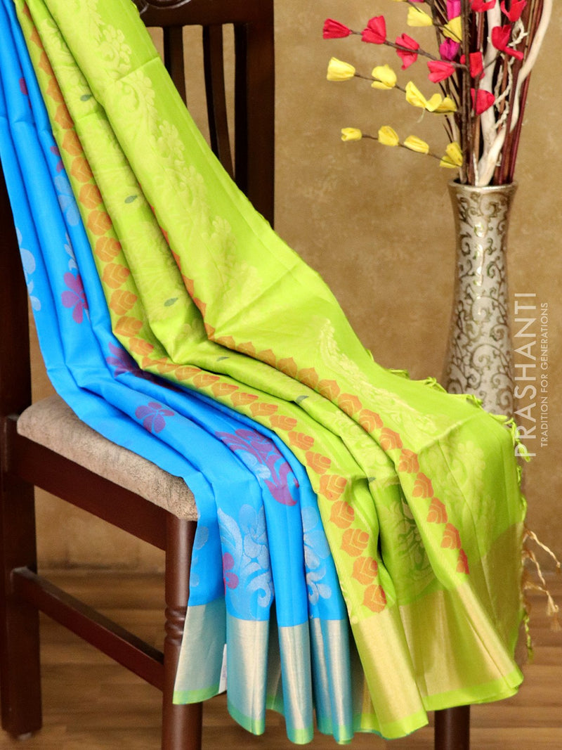 Soft Silk saree blue and green with floral buttas and kaddi zari border