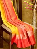 Soft Silk saree mango yellow and red with silver zari lines and floral buttas