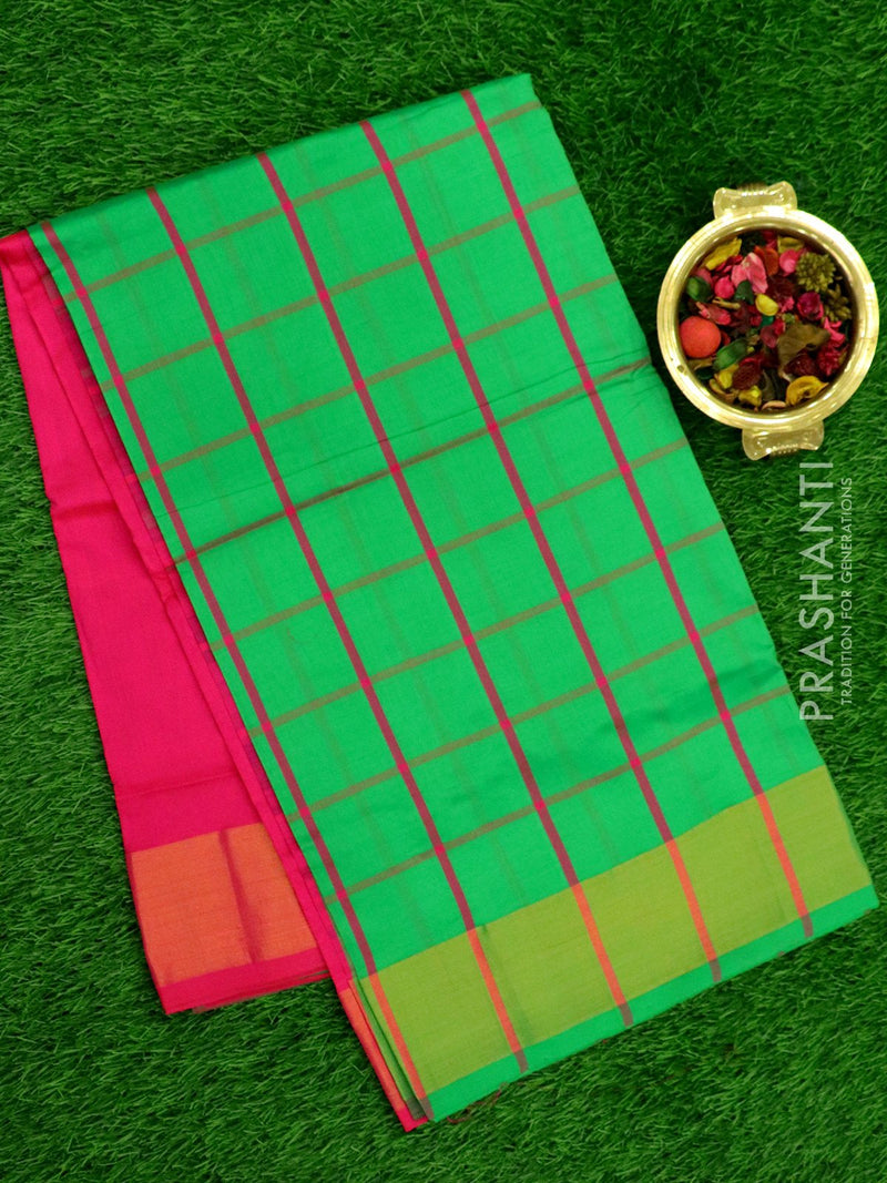 Semi Silk Cotton saree green and pink with checked body and kaddi zari border