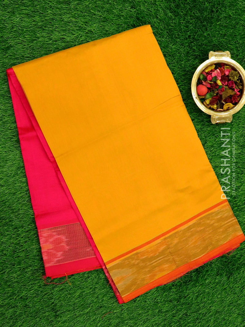 Semi Silk Cotton saree mustard yellow and pink with plain body and ikkat  border