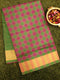 Semi Silk Cotton saree purple and green with checked pattern and zari border