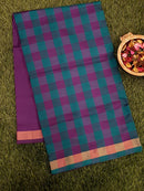 Semi Silk Cotton saree teal green and purple with checked pattern and zari border