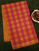 Semi Silk Cotton saree hot pink and mustard yellow with checked pattern and zari border