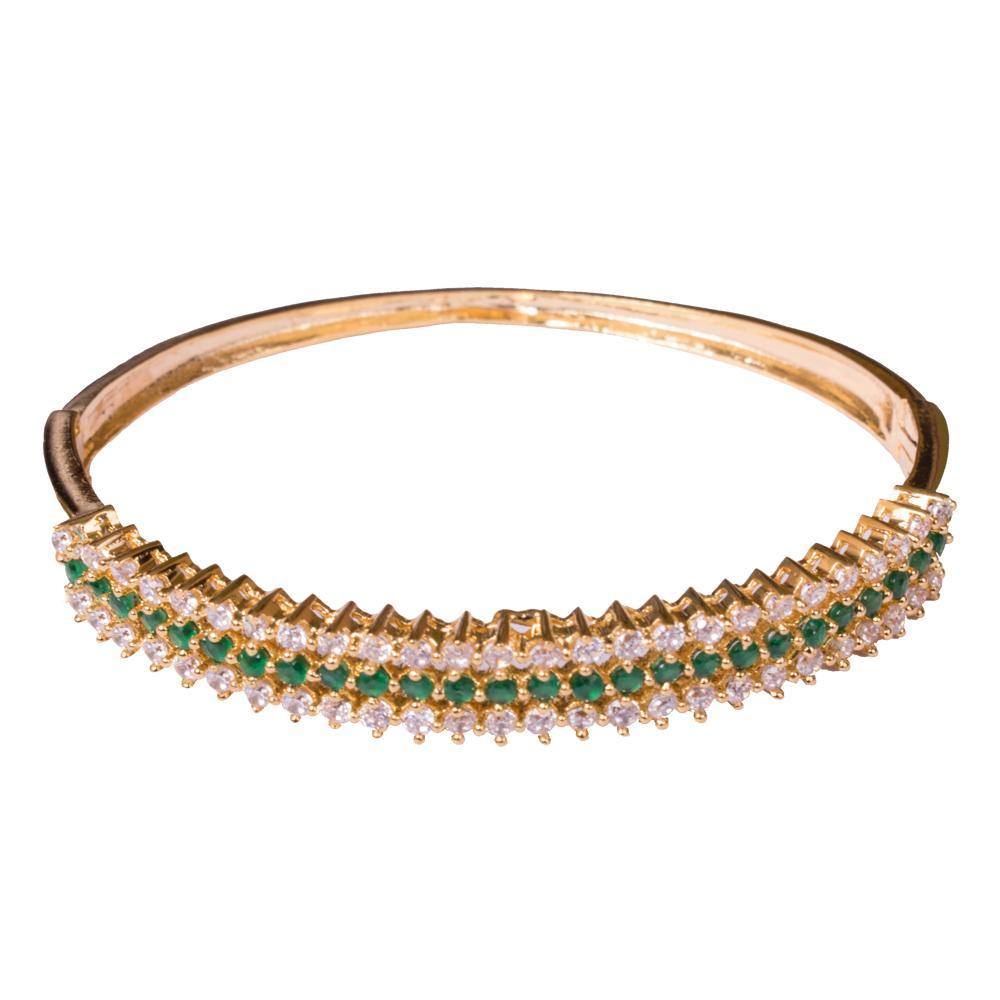 Gold plated emerald finish bangle