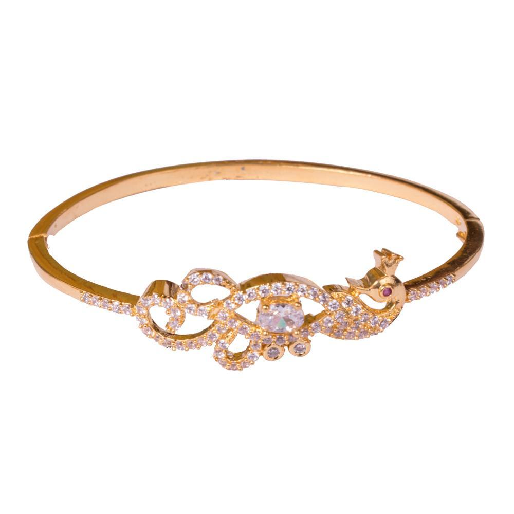 Peacock stylish American diamond bangle for Rs.Rs. 450.00 | Bracelets by Prashanti Sarees