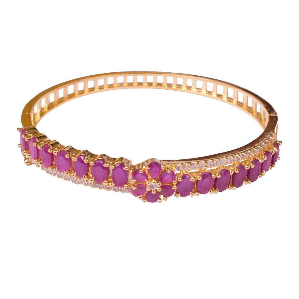 American diamond ruby stylish bangle for Rs.Rs. 550.00 | Bracelets by Prashanti Sarees