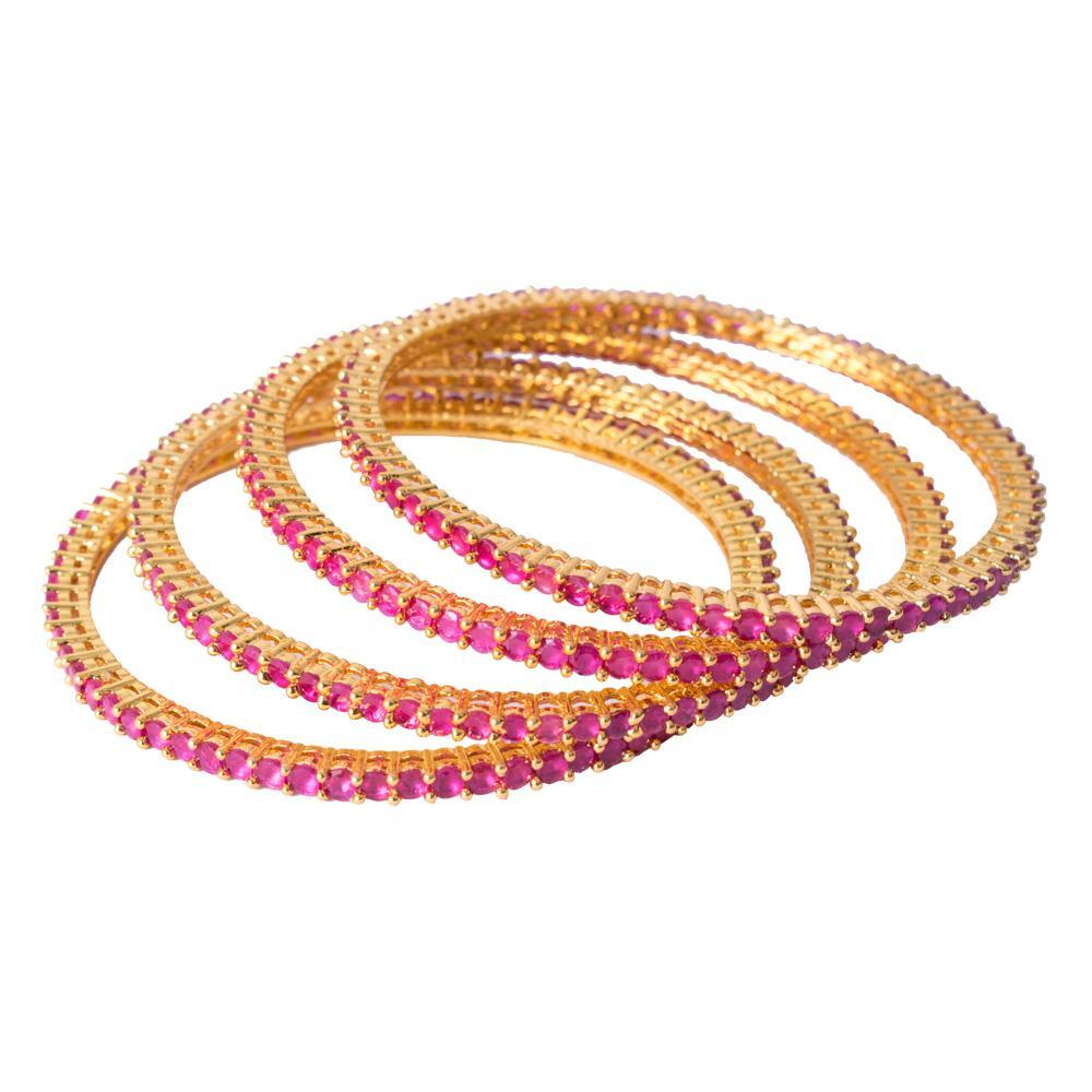 Gold and ruby bangles