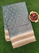 Semi Tussar Saree pastel green with embroided pattern