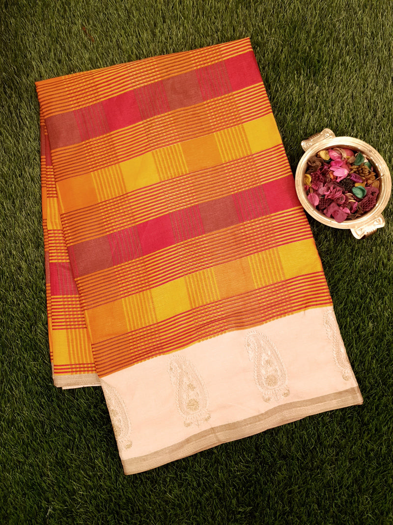 Semi Tussar Saree multi colour checks with embroided pattern