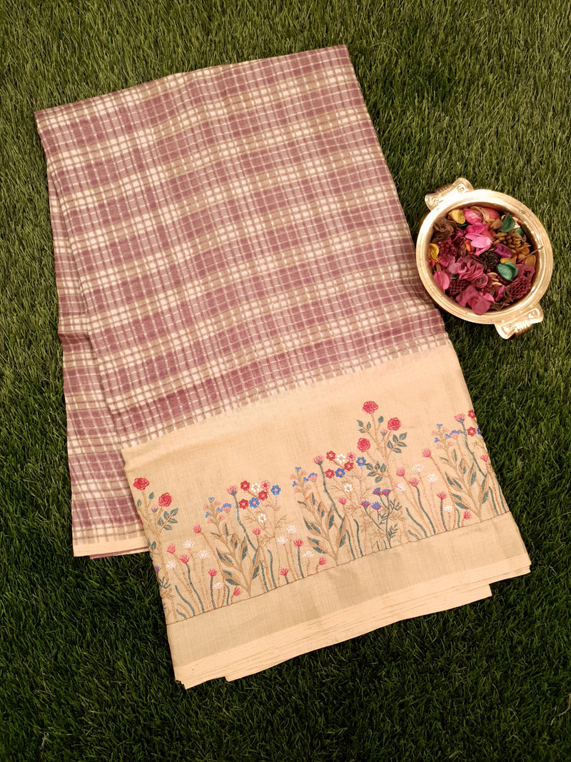 Semi Tussar Saree purple and beige with embroided pattern