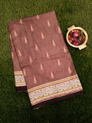 Semi Tussar Saree pale brown and beige with embroided pattern