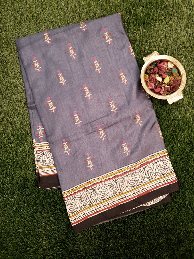 Semi Tussar Saree grey and black with embroided pattern