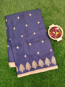 Semi Tussar Saree blue and beige with embroided pattern