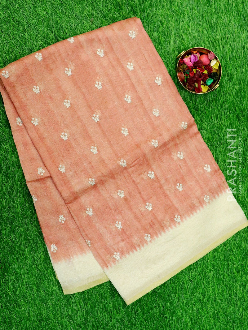 Semi Tussar Saree pastel pink and beige with embroided pattern