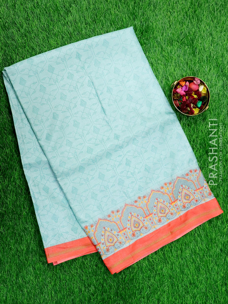 Semi Tussar Saree patsel green and beige with embroided pattern