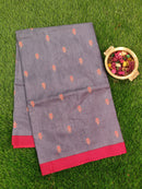 Semi Tussar Saree grey and maroon with embroided pattern