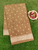 Semi Tussar Saree greenish brown with embroided pattern