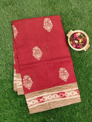 Semi Tussar Saree maroon and beige with embroided pattern