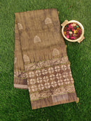 Semi Jute Tassar Saree green with digital and embroided pattern