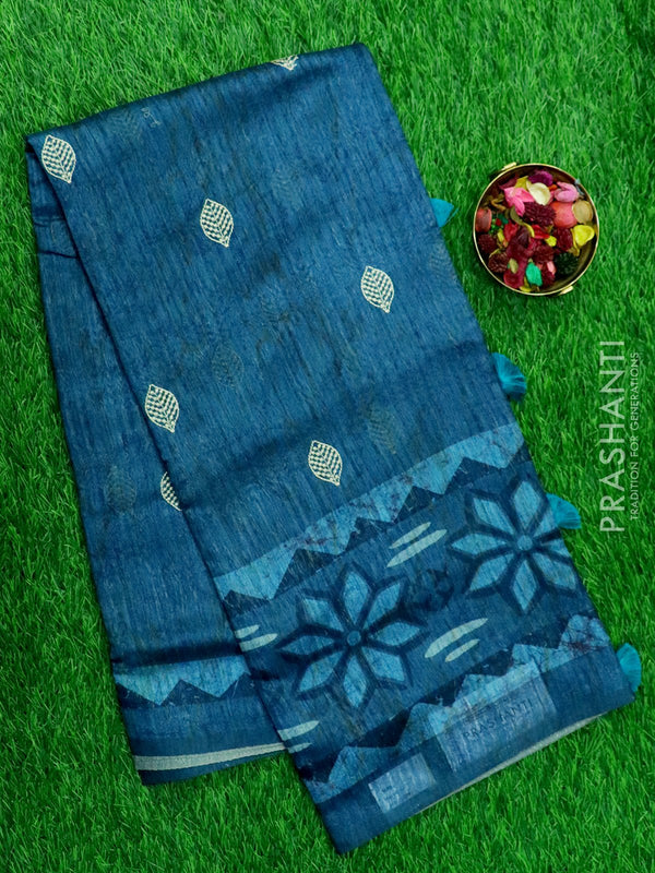 Semi Jute Tassar Saree peacock green with digital and embroided pattern