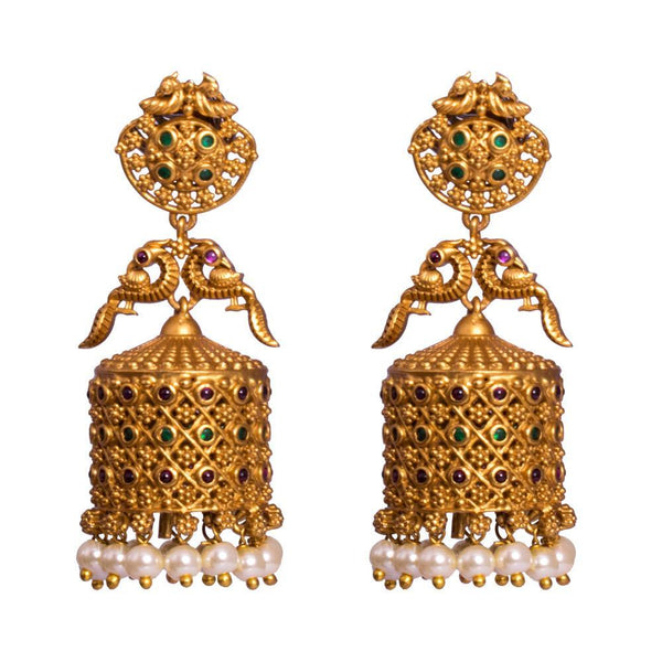 Conical gold plated jhumkas