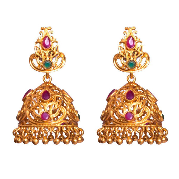 Medium sized gold plated jhumkas