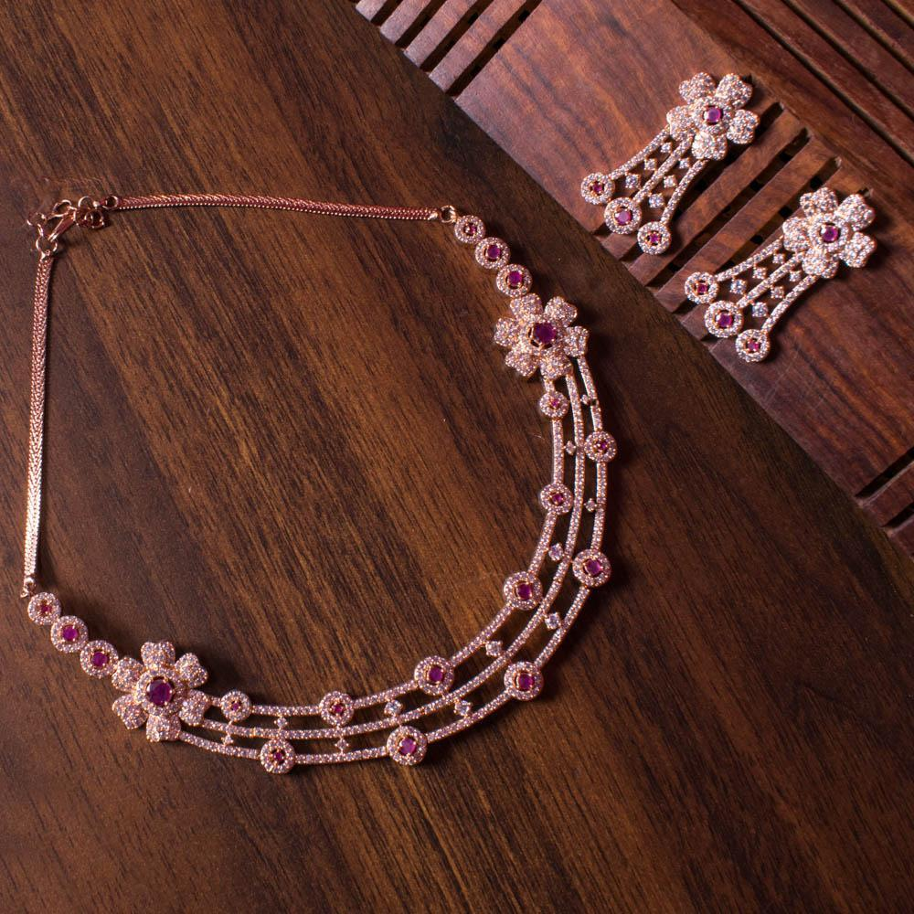 Stylish rose gold choker zircon set for Rs.Rs. 2500.00 | American Diamond by Prashanti Sarees