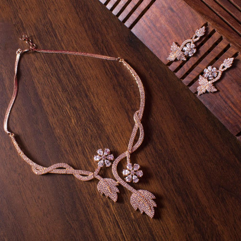 Rose gold tone Leaf choker Zircon necklace set