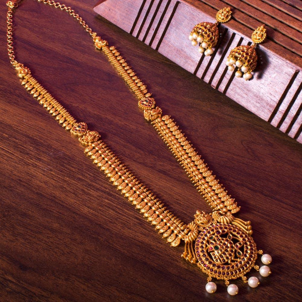 Classic long gold plated necklace