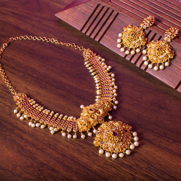Goddess gold necklace set for Rs.Rs. 3950.00 | Jewellery by Prashanti Sarees