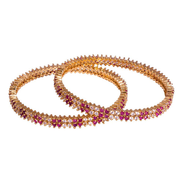 Red beaded gold bangles