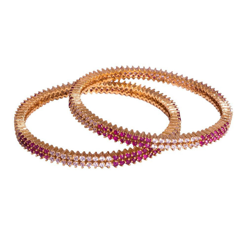 gold plated with ruby zircon bangles