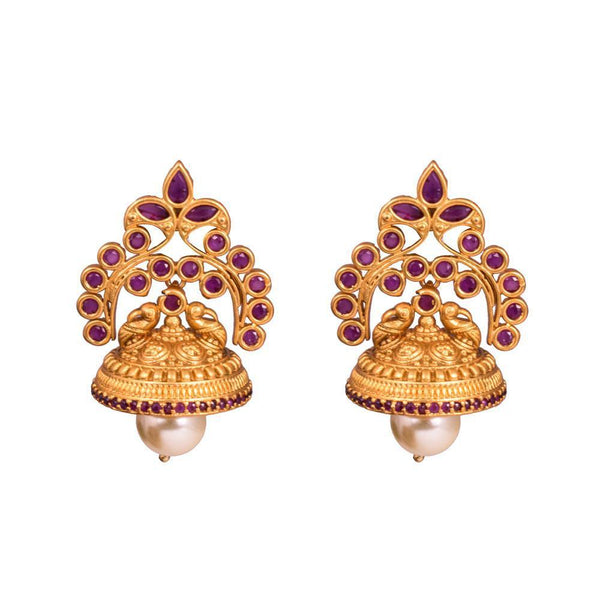 Traditional Pink Rich Stones Jhumkas