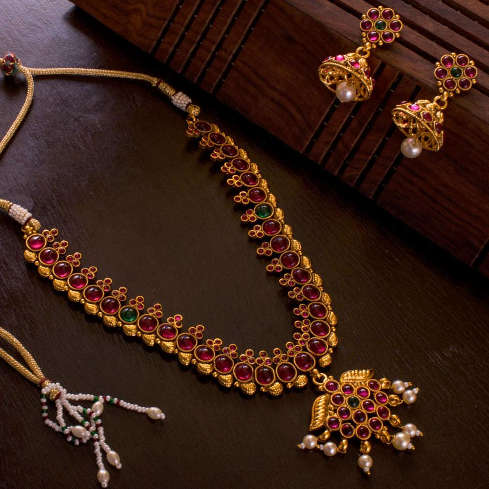 f6e9cb986c6 Buy Authentic Kemp Stone Necklace Set at Prashanti Sarees for only Rs.  900.00