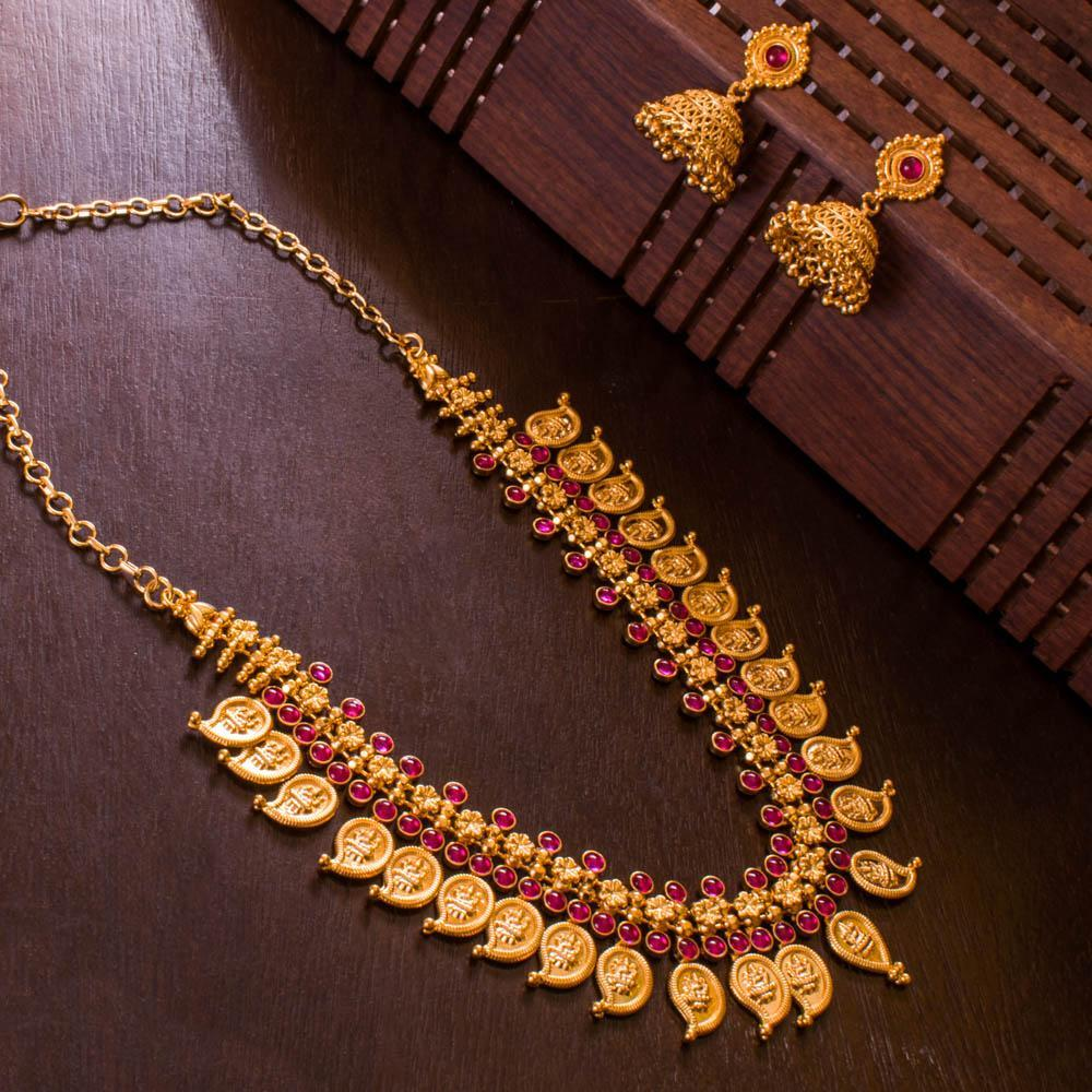 Ruby gold plated necklace set