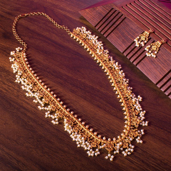 Long pearl gold necklace set