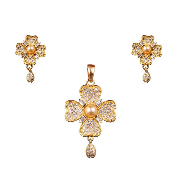 Floral Beauty American Diamond Pendant Set