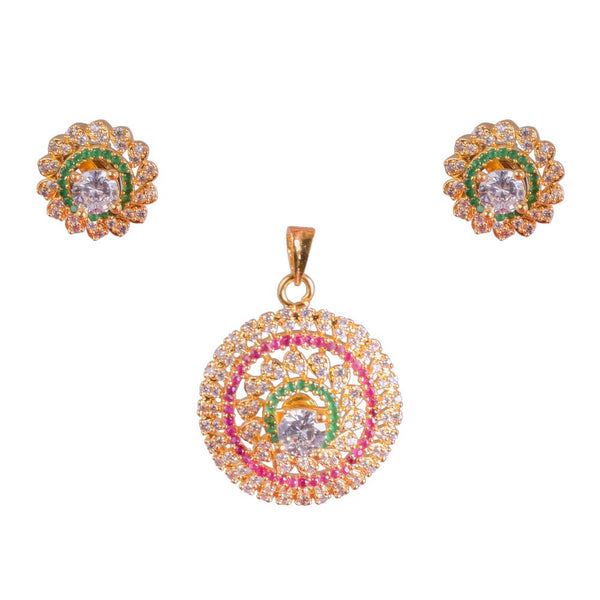 Zircon and Ruby circular pendant set
