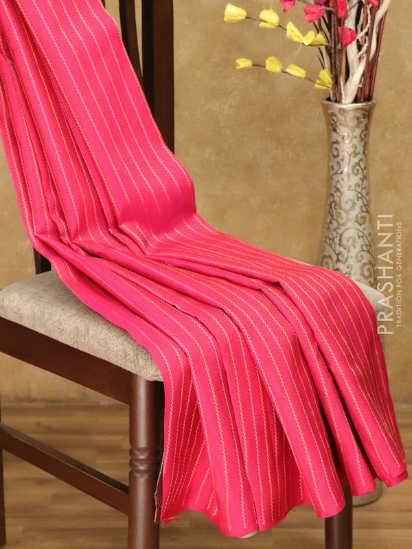 Kanjivaram Silk Saree pink and beige with gold and silver zari wavey lines borderless style