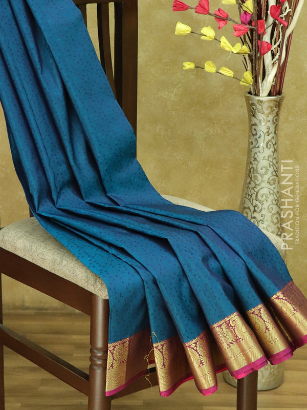 Kanjivaram Silk Saree peacock blue and pink with allover thread work and paisley peacock golden zari border