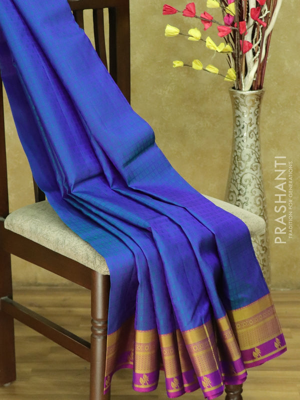 Kanjivaram Silk Saree dual shade of blue and purple checked pattern with thread woven border