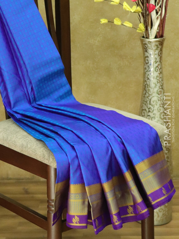 Kanjivaram Silk Saree blue and voilet checked pattern with thread woven border