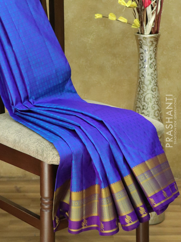 Kanjivaram Silk Saree blue and violet checked pattern with thread woven border