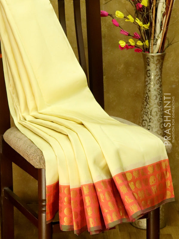 Pure Kanjivaram Silk Saree cream and pink  with annam elephant coin and lotus buttas in border
