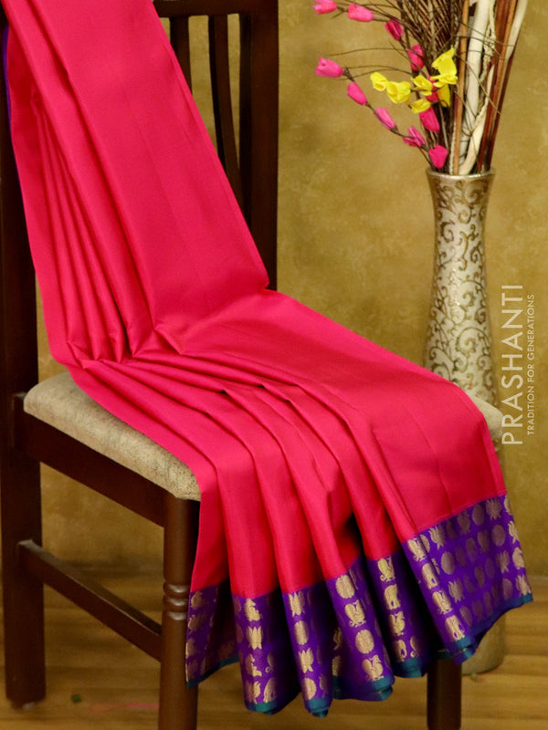 Pure Kanjivaram Silk Saree pink and violet with annam elephant coin and lotus buttas in border