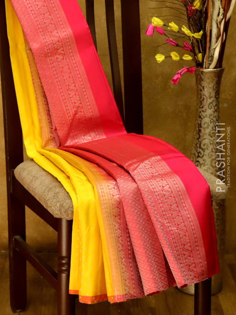 Pure Kanjivaram Silk Saree yellow and orange with allover zari buttas in borderless style