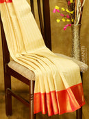 Pure Kanjivaram Silk Saree cream and peachish pink with 1000 buttas and traditional korvai zari border