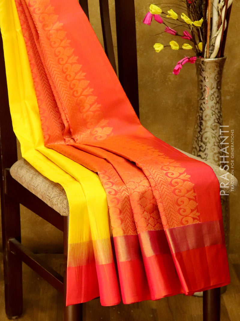 Pure Kanjivaram Silk Saree yellow and tomato pink with golden zari buttas and zari border