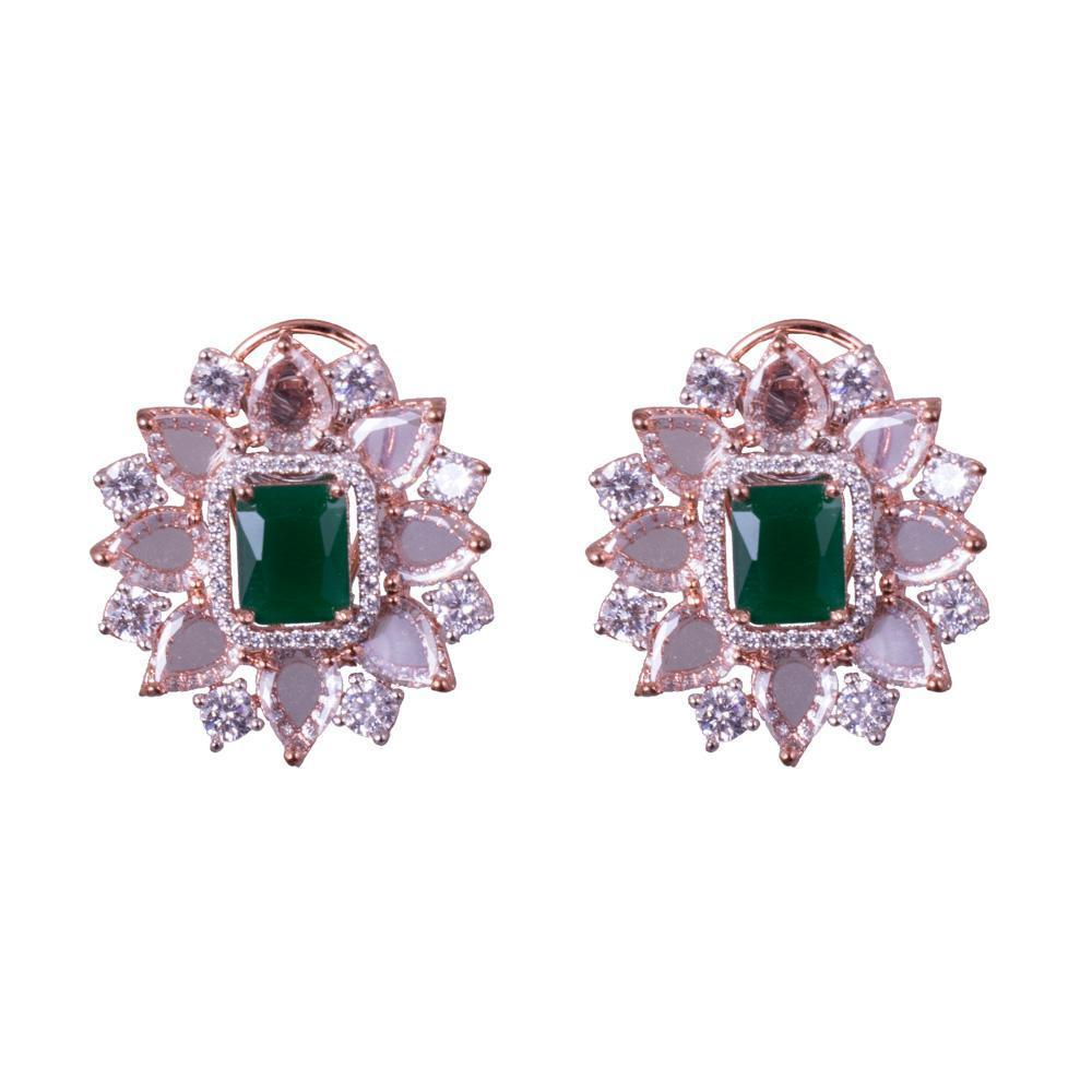 American Diamond Emerald Earrings